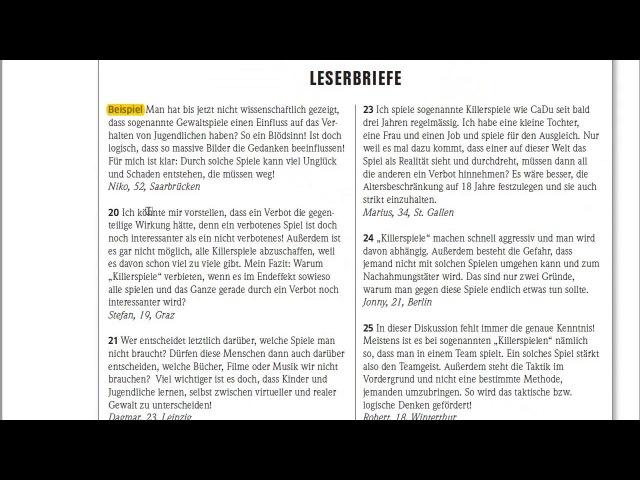 Экзамен по немецкому B1 Goethe-Zertifikat B1 ЧТЕНИЕ LESEN Анализ комментариев