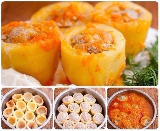 Фаршированная картошечка Ингредиенты: Картофель — 1 кг Фарш мясной —