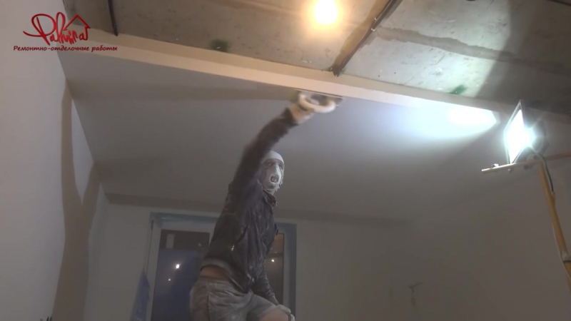 Ремонт квартир в СПб. Монтаж потолочного короба с подсветкой и LED панелями. Пал