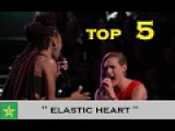 Top 5 Elastic Heart singers  SIA  Live roundsBattle rounds  The Voice Worldwide