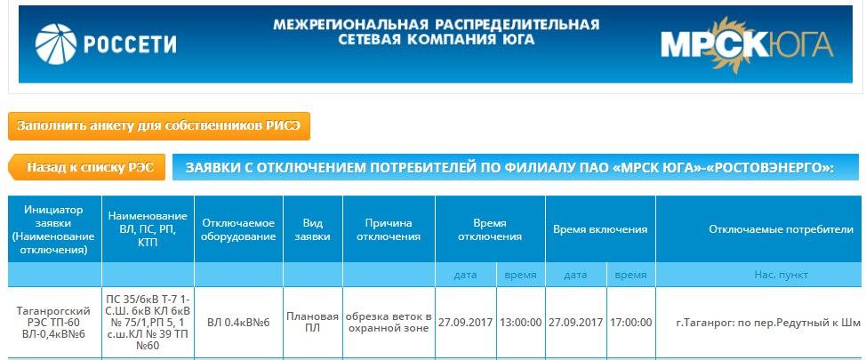 В Таганроге на несколько часов отключат электроснабжение на улице Шмидта и в переулке Редутном
