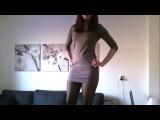 Crossdresser In Cute Tight Dress & Pantyhose