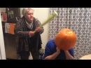 Crazy Nanny beats guy with Pumpkin Stuck on his Head