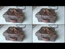 Decoupage-pomarszczone pudło udające skórę ░░