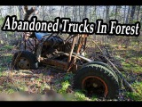 Old Abandoned Vintage Trucks In Forest. Abandoned Truck Vehicles Found. Lost Trucks Wreck