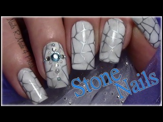 Stein Optik Nageldesign mit Strass / Stone Stamping Nail Art Design