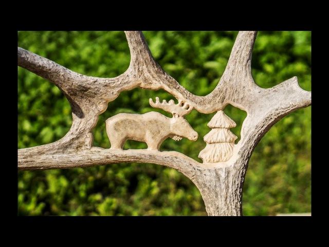 Резьба по рогу лося Резьба по кости The carved horn of elk Bone carving