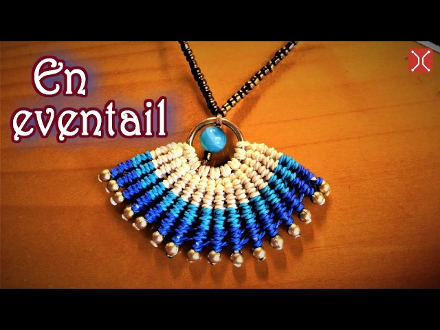 Macrame necklace tutorial - the simple En eventail pattern - clearly guide