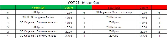 Афиша кинотеатра GALAXY