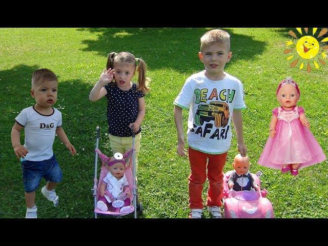 Куклы Беби бон на детской площадке Коляски для кукол