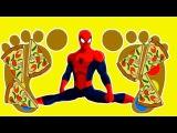 НОГИ ЧЕЛОВЕКА ПАУКА В ПИЦЦЕ! Человек паук мультфильм. Видео детям. Человек-паук В...