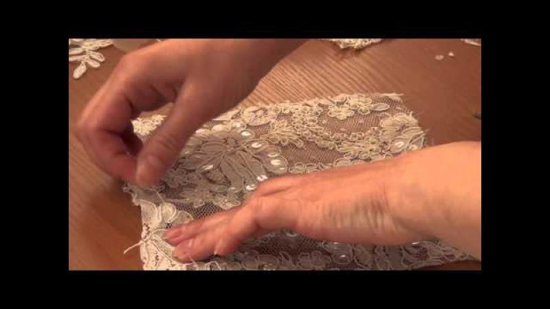 Как прокладывать швы по кружевам вышитым бисером, бусинами , пайетками (часть-2)