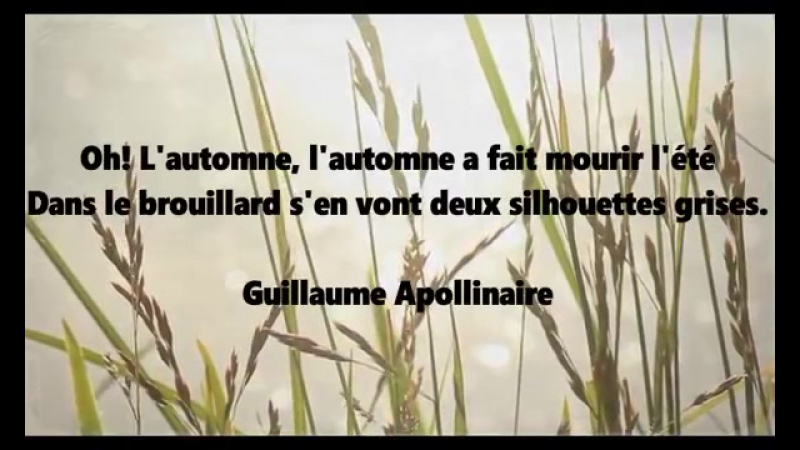 Guillaume APOLLINAIRE - AUTOMNE
