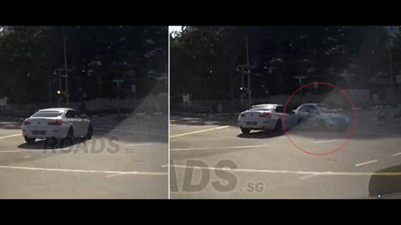 В Сингапуре на видео попал автомобиль-призрак, который возник из ниоткуда