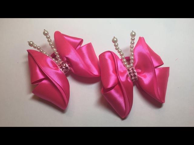 Канзаши бабочка бантик из лент/МК/DIY/Kanzashi butterfly bow with ribbons