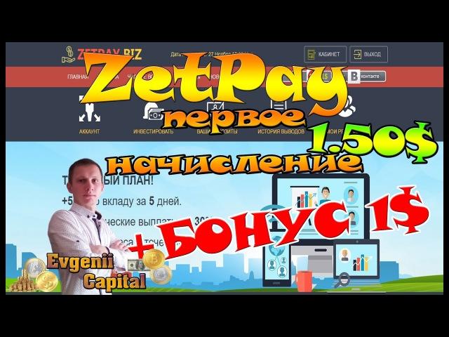 ZetPay Пришло первое начисление 1.5$ БОНУС 1$
