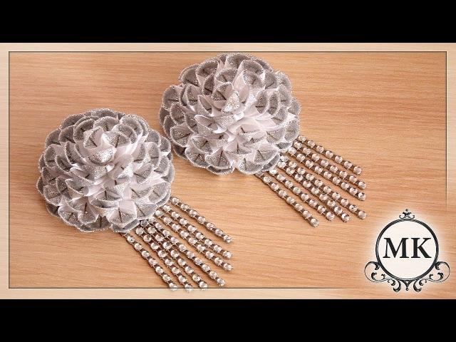 Зажимы для волос из узкой ленты 1,2 см. Канзаши. МК. / DIY. Kanzashi. HairClips