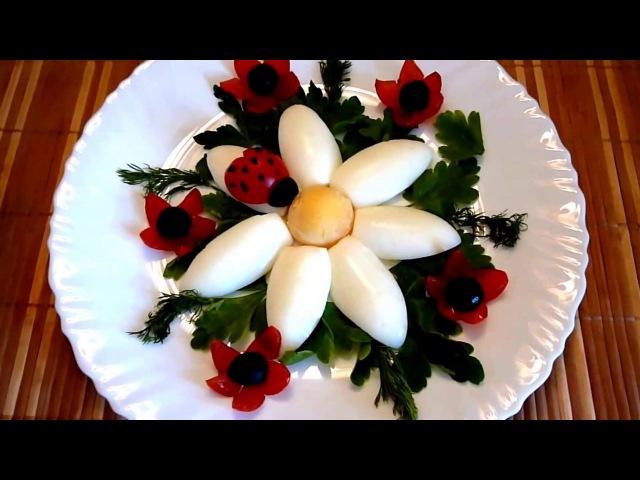 6 LIFE HACKS HOW TO CUT EGGS GARNISH HOW TO MAKE FLOWERS, BIRD, MUSHROOMS - ART DESIGN - CARVING