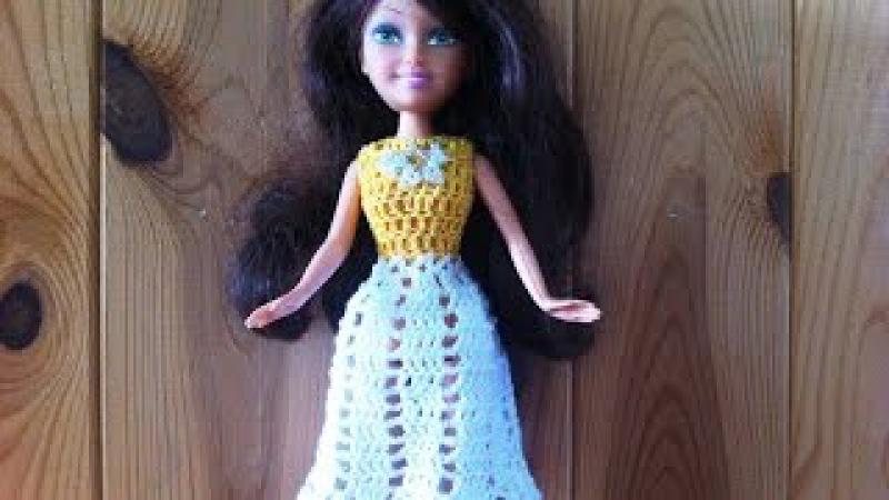 Ажурное платье для куклы крючком с квадратной кокеткой Мастер-класс Barbie dress crochet