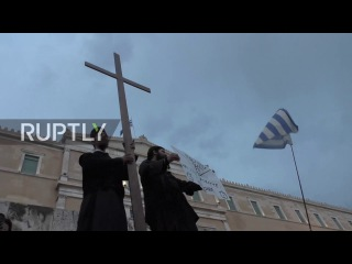 Greece: 'No to the electronic slavery of the Antichrist' - Ultra Orthodox believers rally in Athens