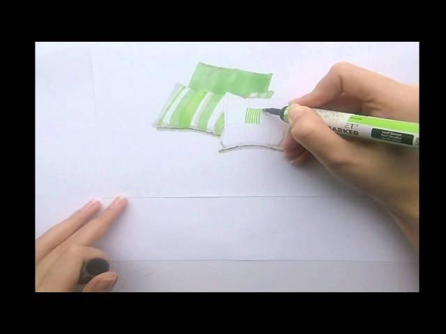 Урок скетчинга. Эскиз подушек маркерами. Урок дизайна интерьера. Как рисовать ма...