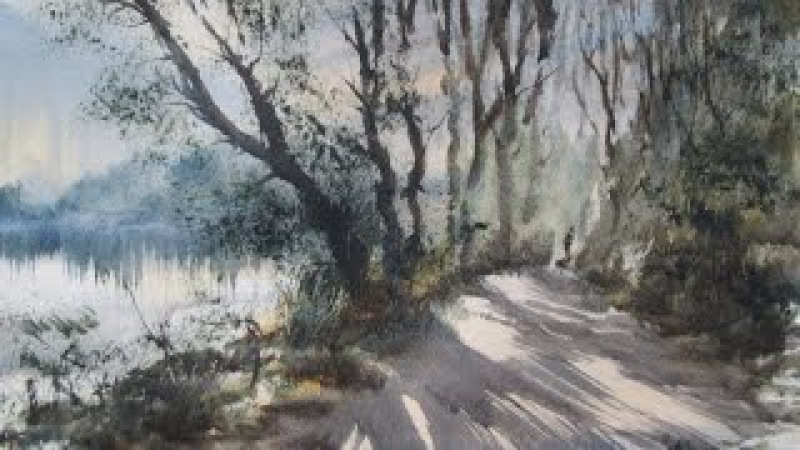 Watercolour painting demo from a reference photograph of Bracebridge Pool