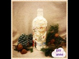 Christmas decoupage bottle (collab with