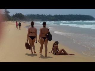 ВЛОГ: Таиланд, Пхукет. Пляж Карон, Ката. Девушки в купальниках, в трусах стрингах на пляже.
