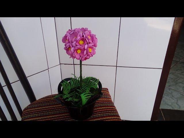 Diy topiaria florzinha do cerrado ou mini rosinha de E.V.A sem frisador