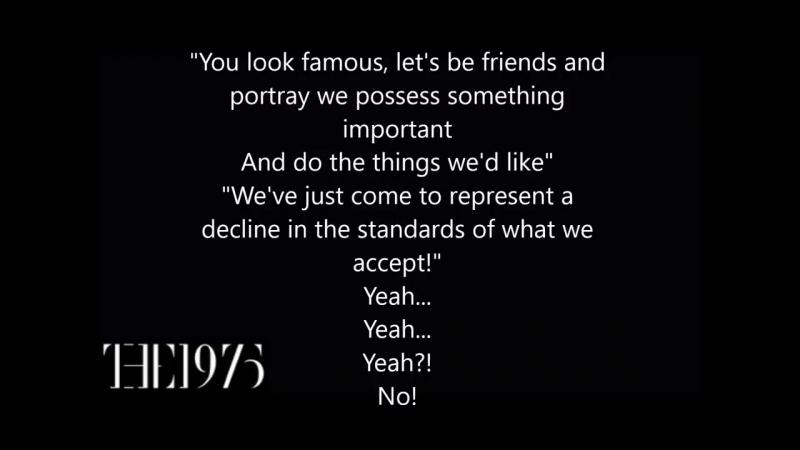 The 1975 Love Me Lyrics on screen