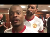 Patrice Evra and Rio Ferdinand in the United dressing room on Sunday