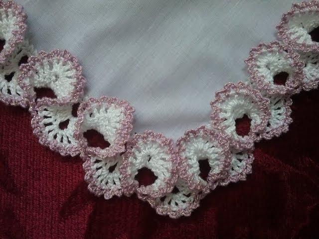 Салфетки, платочки. Обвязка края крючком. №3