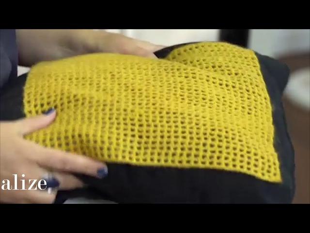 Alize Angora Gold ile Kafes Zemin Üzerine Zincir İşi Yapımı-Making Chain Work on a Mesh Base