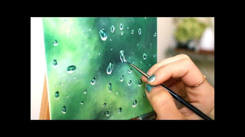 Oil Painting Time Lapse   Realistic Water Droplets