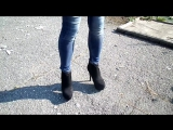 Feet Pantyhose Jeans Heels two Pairs of (shoes)