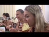Syria Russian troops enjoy Easter treats blessed by Patriarch Kirill in Latakia