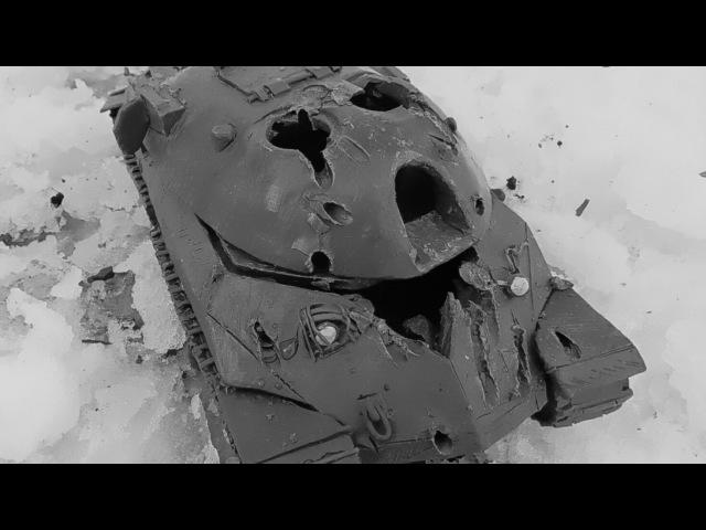 ИС-7 мощный обстрел воздушкой hatsan 125 TH имитация испытания танк из пластилина