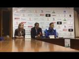 После матчевая пресс-конференция тренера Сборной Кыргызстана А. Крестинина и игрока матча  А. Байматова