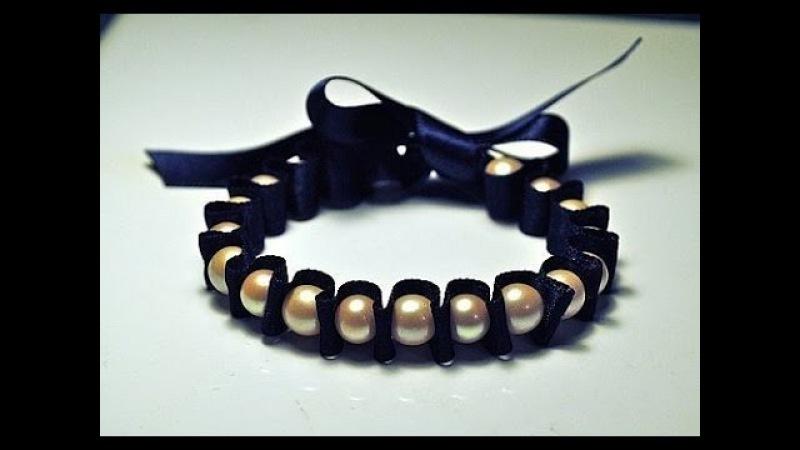 МК - женский изящный браслет Master Class - a bracelet of beads and ribbons