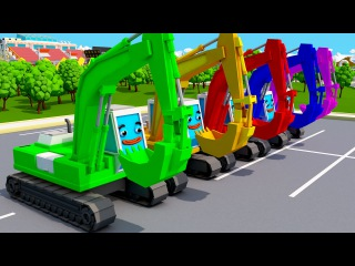 Learn Colors with Cars Balls for Children, Toddlers and Babies | Funny Excavators Playing Colours