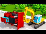 Cars Video for Kids & Children Bulldozer w Excavator Big Trucks 3D Animation Cars & Trucks Stories