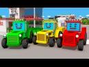 Мультфильм про машинки Трактор, Экскаватор и Бульдозер - 3D Развивающий Мультик В...