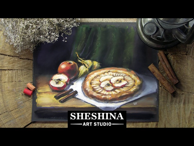 How to draw a still life with apple pie with soft pastels 🎨 STILL LIFE