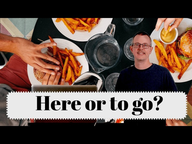 Learn English: Daily Easy English 1168: Here or to go?