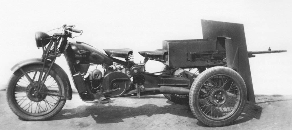 """Итальянский трицикл """"Moto Guzzi Trialce 500"""",вооруженный пулеметом """"Breda mod.37"""""""