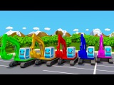 Learn Colors With Excavators 3D Animation for Children Car Cartoon - Colours for Kids
