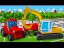 Traktor und Bagger - Erstellen Sie neue Straßen - Kinderfilme - Lehrreicher Zeichentrickfilm