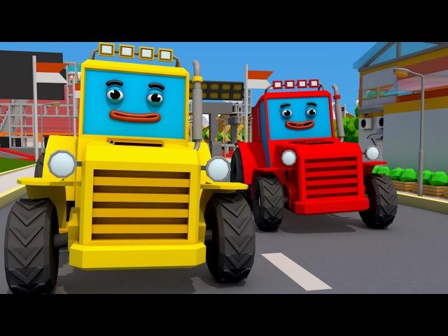 Bagger Kinderfilm - Der Gelbe Bagger mit Freunde - Maschinen-Team - Cartoon