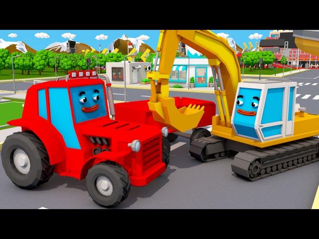 Bagger Kinderfilm - Der Gelbe Bagger auf baustelle - Cartoon für Kinder Maschinen-Team