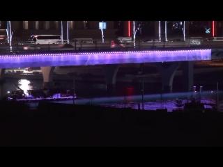 Ночная подсветка моста через Водный канал Дубая – Dubai Water Canal